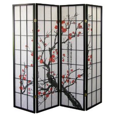 4-Panel Plum Blossom Screen Room Divider