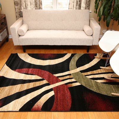 Contemporary Brown and Beige Wavy Circles Area Rug (5'2x7'3)