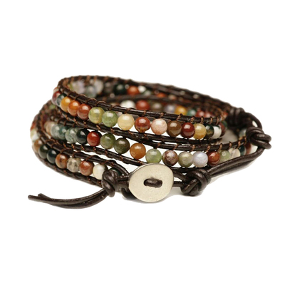 Blueyes Collection Bead on Genuine Leather Bracelet