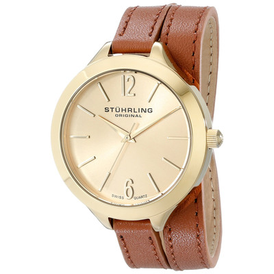 Stuhrling Leather Wrap Around Band Gold Tone Watch