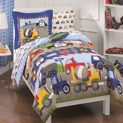 Dream Factory Trucks Tractors Cars Boys 5-Piece Comforter Sheet Set