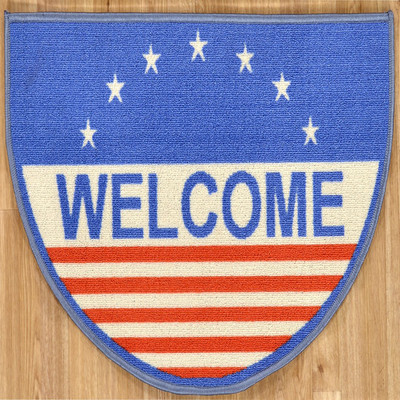 Siesta Collection Blue American Flag Welcome Mat